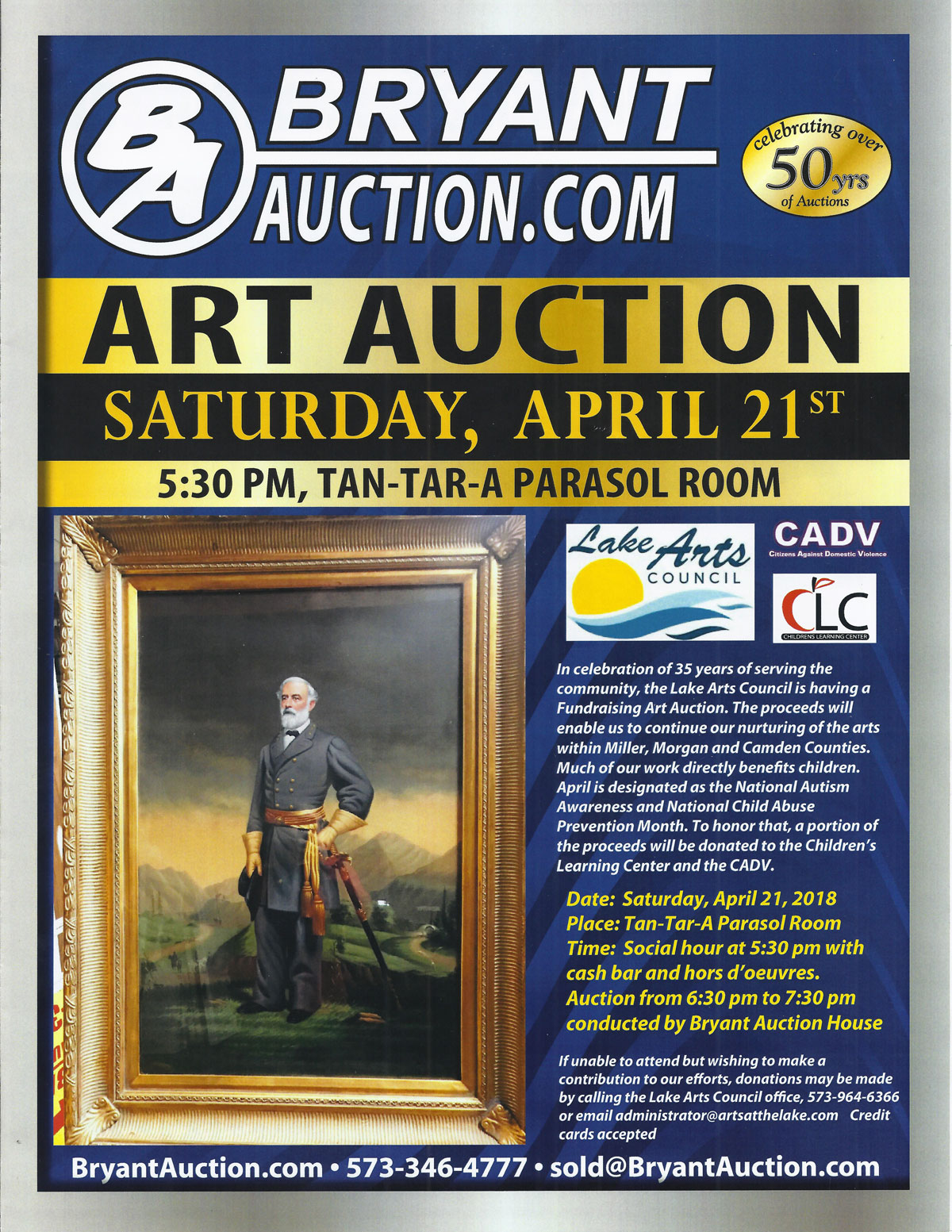 art auction flyer lake arts council lake of the ozarks
